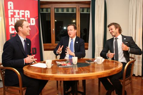 England 2018 Bid Ambassador David Beckham (R), Prince William (L) and British Prime Minister David Cameron meet in Hotel Steigenberger in Zurich