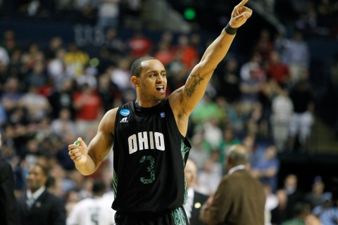 The Ohio Bobcats' Walter Offutt celebrates after his team's defeat of the University of South Florida Bulls during their NCAA third-round basketball game in Nashville