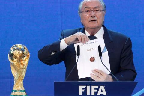FIFA President Sepp Blatter announces Russia as the host nation for the FIFA World Cup 2018  in Zurich
