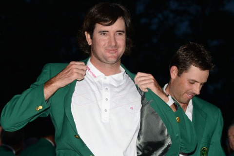 Bubba Watson of the US poses in his gree
