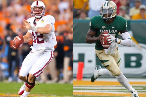 Andrew Luck, left, and Robert Griffin III, are expected to be the first to players selected in the 2012 NFL Draft.