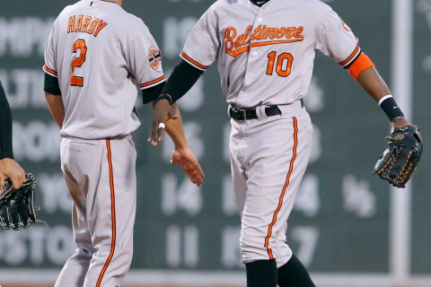 Orioles' Adam Jones slaps hands with teammate J.J. Hardy at the conclusion of the 17th inning of American League MLB baseball action against the Boston Red Sox at Fenway Park in Boston