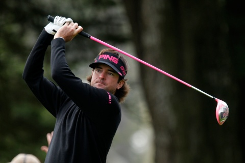 Bubba Watson of the U.S. tees off on the 12th hole during the first round of the 2012 U.S. Open golf tournament on the Lake Course at the Olympic Club in San Francisco