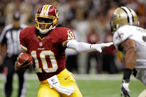 The Washington Redskins play the New Orleans Saints