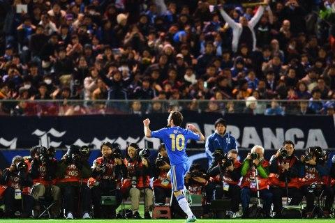 image: English Premier League team Chelsea forward Juan Mata celebrates his goal against Mexico's Monterrey during their 2012 Club World Cup semi-final football match at Yokohama, Dec. 13, 2012.