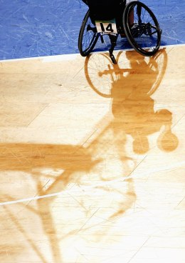 image: Wheelchair Basketball match during the 2008 Paralympic Games in Beijing, China.