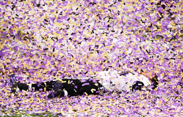 Morgan Cox of the Baltimore Ravens celebrates after the Ravens won 34-31 against the San Francisco 49ers during Super Bowl XLVII at the Mercedes-Benz Superdome in New Orleans, Feb. 3, 2013.