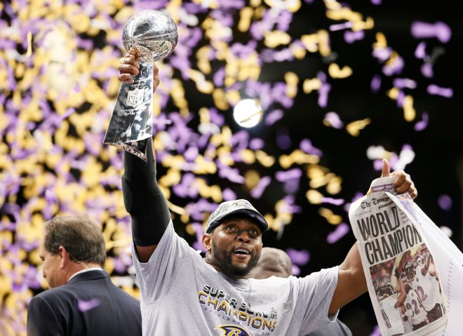 Baltimore Ravens inside linebacker Ray Lewis holds up the Vince Lombardi Trophy after his team defeated the San Francisco 49ers in the NFL Super Bowl XLVII football game in New Orleans, Feb. 3, 2013.