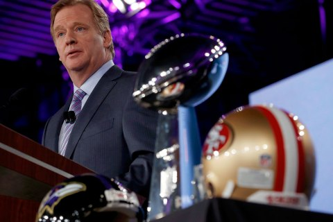 NFL Commissioner Roger Goodell speaks during his annual press conference ahead of the NFL's Super Bowl XLVII in New Orleans, La., on Feb. 1, 2013.