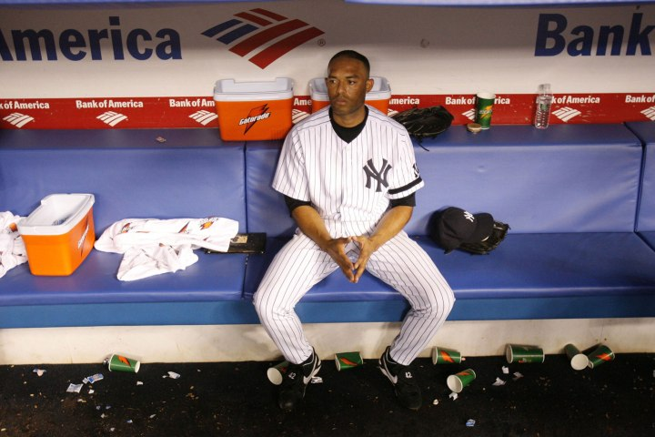 Mariano Rivera sits in the dugout during game four of the American League Division Series against the Cleveland Indians in the Bronx, Oct. 8, 2007. The 2007 season was Rivera's statistically worst season as a closer.