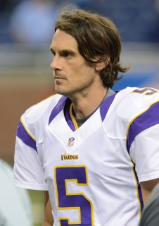 Chris Kluwe of the Minnesota Vikings at Ford Field in Detroit, on September 30, 2012.