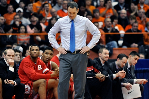 In this Jan. 2, 2013 file photo, Rutgers head coach Mike Rice reacts after Syracuse scored late in the second half of an NCAA college basketball game in Syracuse, N.Y.