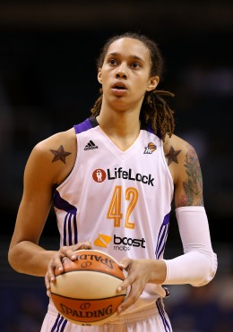 Brittney Griner #42 of the Phoenix Mercury prepares to take a free throw shot against Japan during the preseason WNBA game at US Airways Center in Phoenix, on May 19, 2013.