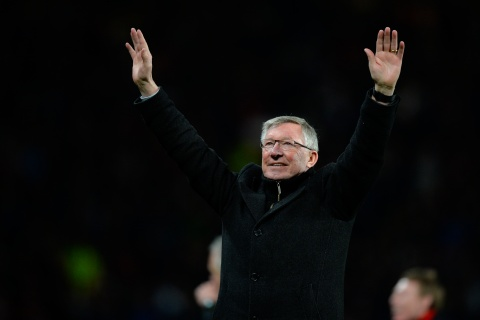 Sir Alex Ferguson manager of Manchester United celebrates winning the Barclays Premier League for the 20th time, at the Old Trafford Stadium, in Manchester, England, on April 22, 2013.