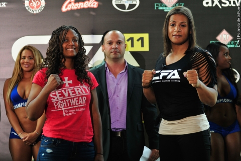 From left: Allanna Jones and transgender MMA fighter Fallon Fox at a press conference promoting their CFA fight taking place on May 24.