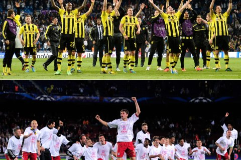 From top: Dortmund's players celebrating at the end of the UEFA Champions League semi-final second leg football match against Real Madrid CF at the Santiago Bernabeu stadium in Madrid on April 30, 2013; Bayern Munich celebrating their victory at the end of the UEFA Champions League semi-final second leg football match against FC Barcelona at the Camp Nou stadium in Barcelona on May 1, 2013.