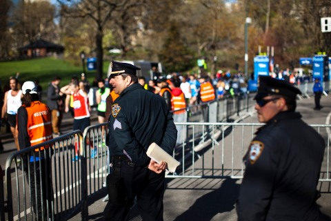 Police officers at a race organized by New York Road Runners at Central Park in New York City, on April 21, 2013.