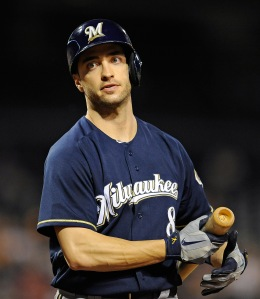 Ryan Braun #8 of the Milwaukee Brewers bats against the Pittsburgh Pirates on May 15, 2013 at PNC Park in Pittsburgh.