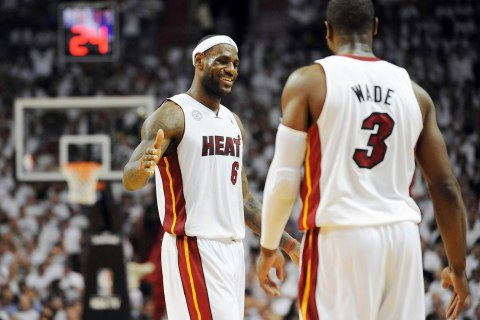 From left: Miami Heat's LeBron James and Dwyane Wade in the third quarter in Game 7 of the NBA eastern Conference Finals at the American Airlines Arena in Miami, on June 3, 2013.