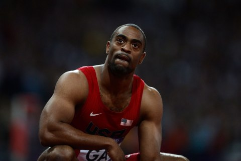 Tyson Gay of the U.S. reacts after finishing fourth in the men's 100m final during the London 2012 Olympic Games at the Olympic Stadium, Aug. 5, 2012.