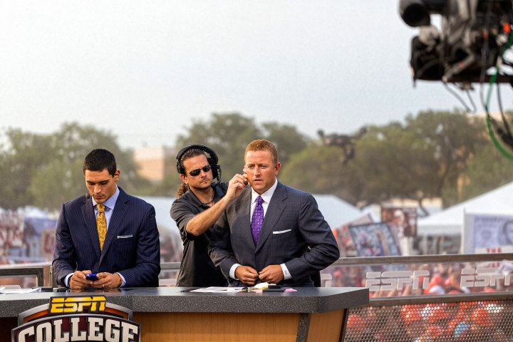 The ESPN Gameday crew freshens up before filming a segment at Simpson Drill Field.