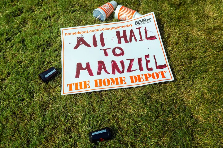 A Texas A&M fan's sign lays abandoned after the filming of ESPN College Gameday.
