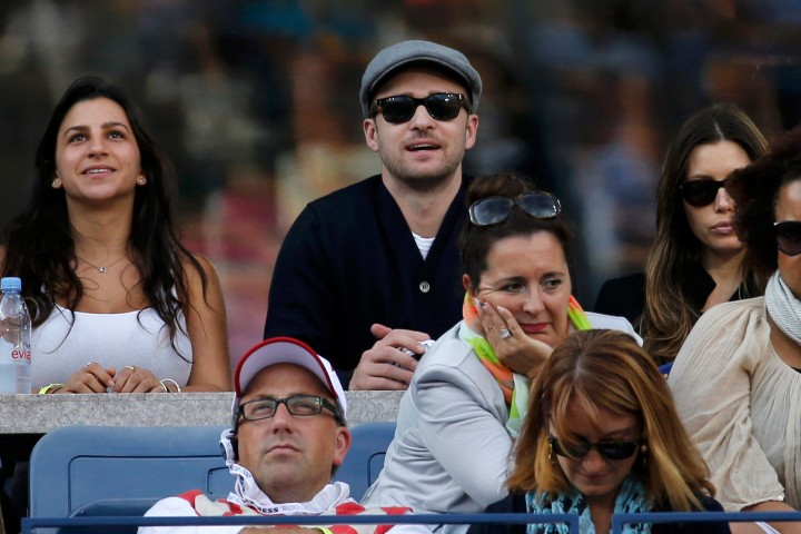 Actor Timberlake watches Nadal of Spain face Djokovic of Serbia in the men's final match at the U.S. Open tennis championships in New York