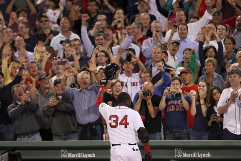 Boston Red Sox's Ortiz greets crowd from dugout after hitting two-run home-run against Detroit Tigers during MLB American League Baseball game in Boston