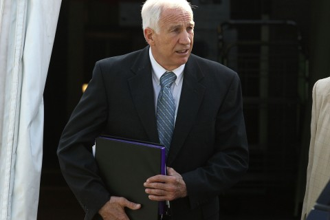 Former Penn State assistant football coach Jerry Sandusky leaves the Centre County Courthouse, on June 19, 2012 in Bellefonte, Pa.