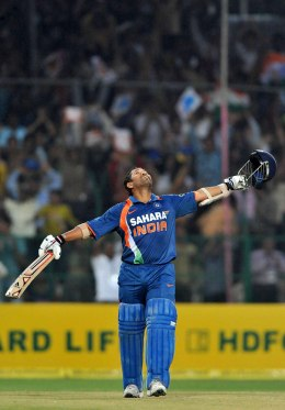 Tendulkar celebrates his 200, the first ever double hundred in a one day international, during the second one day international between India and South Africa at Captain Roop Singh Stadium on February 24, 2010 in Gwalior, India.