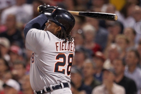 Detroit Tigers' Fielder hits two-run home run in against Boston Red Sox during MLB American League Baseball game in Boston