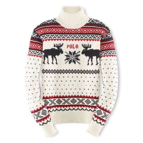 A reindeer turtleneck, part of the official gear of the U.S. Olympic team by Ralph Lauren.
