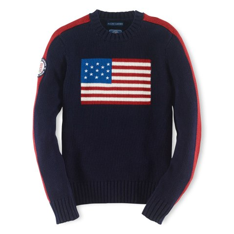 An American flag sweater, part of the official gear of the U.S. Olympic team by Ralph Lauren.
