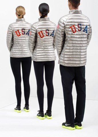 Rear view of Nike's Team USA Medal Stand Footwear and Apparel for the Sochi 2014 Winter Olympics.