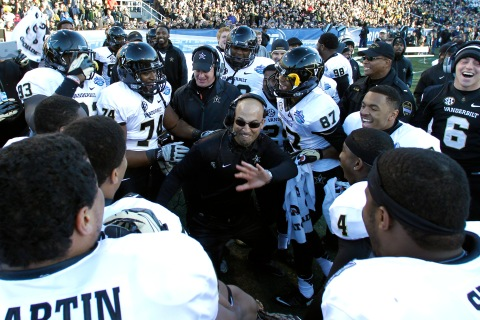 Vanderbilt coach James Franklin celebrates with Vanderbilt team as he dances on the sideline during the second half of the BBVA Compass Bowl NCAA college football game on Saturday, Jan. 4, 2014, in Birmingham, Ala.