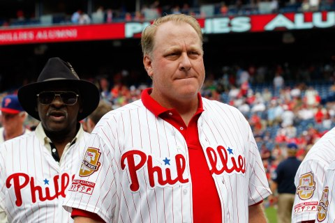 Former Philadelphia Phillie Curt Schilling participates in Alumni Weekend ceremonies at Citizens Bank Park on August 3, 2013 in Philadelphia.