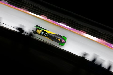 Jamaica's Winston Watts and Marvin Dixon speed down the track during the two-man bobsleigh event at the 2014 Sochi Winter Olympics