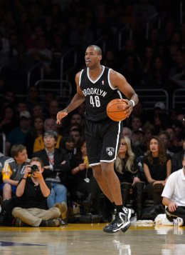 Brooklyn Nets center Jason Collins during the second half of an NBA basketball game against the Los Angeles Lakers, on Feb. 23, 2014, in Los Angeles.