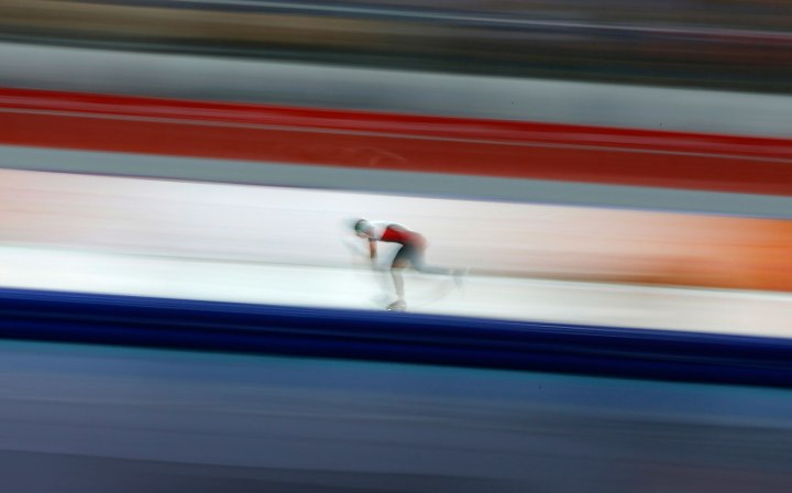 Brittany Schussler of Canada competes in the women's 3000 meters speed skating race during the 2014 Sochi Winter Olympics