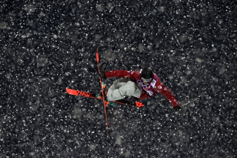 Canada's Matt Margetts competes during the men's freestyle skiing halfpipe qualification round.