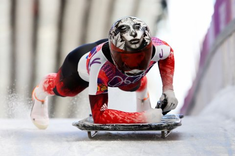 Sarah Reid of Canada during the Women's Skeleton heats.