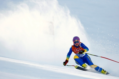 Ukraine's Matsotska skis during the women's alpine skiing Super G competition at the 2014 Sochi Winter Olympics